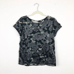 Tops - Black Sheer Top with Faux Leather Flower Patches